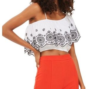 Topshop Broderie One Shoulder Embroidered Crop Top